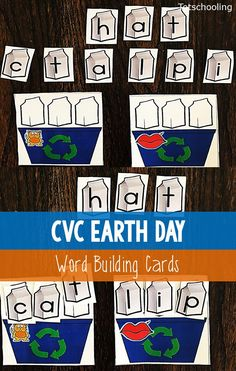 FREE CVC word building activity for kindergarten with an Earth Day theme. Build the short vowel CVC words while placing milk cartons in the recycling bins. Great literacy activity for Earth Day!