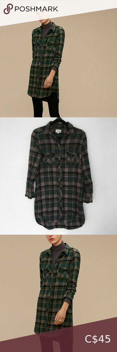 Aritzia Wilfred Free Veronika Flannel Tunic Dress Size: small Condition: good Brand: Wilfred Chest across: Hem across: Length: Sleeve length: Aritzia Tops Button Down Shirts Flannel Tunic, Plus Fashion, Fashion Tips, Fashion Trends, Best Brand, Colorful Shirts, Harem Pants, Button Down Shirt, Sleeves