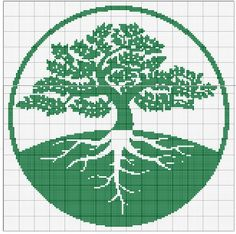 Tree of life crochet cross stitch 31 Ideas Pagan Cross Stitch, Cross Stitch Tree, Cross Stitch Flowers, Cross Stitch Charts, Cross Stitch Patterns, Crochet Tree, Crochet Cross, Tapestry Crochet, Crochet Chart