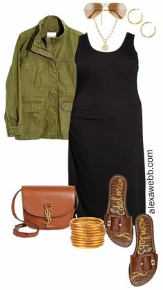 Olive Jacket Outfit, Utility Jacket Outfit, Casual Wear, Casual Outfits, Casual Attire, Mature Women Fashion, Black Tank Dress, Outfit Combinations, Curvy Outfits