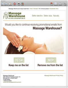 """Massage Warehouse """"Continue receiving emails?"""""""
