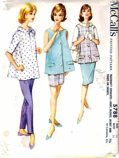 """Vintage 1961 McCall's 5788 Maternity Separates, Skirt, Blouse, Jacket & Pants or Shorts Sewing Pattern Size 14 Bust 34"""" by Recycledelic1 on Etsy"""