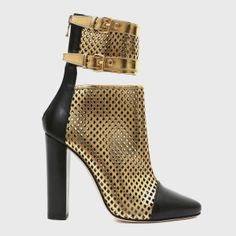 Balmain Spring 2014 Golden Perforated Leather Sandals
