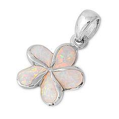 Sterling Silver White Lab Opal Hawaiian Plumeria Flower Pendant and Necklace NakedJewelryLA.com http://www.amazon.com/dp/B00DE06WSW/ref=cm_sw_r_pi_dp_SSgZtb10B2C7GX6A