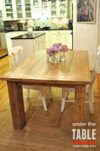 "This 40""x60"" Traditional Farmhouse Table gives a rustic twist on a contemporary white kitchen with glass cabinets."