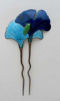 Vtg Art Nouveau Blue Enamel Gold Tone Metal Ladybug Pansy Hair Pin Comb | eBay