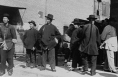 Young men congregate at the head of Ferguson Alley, ca.1900 | A group of self-assured young Chinese men hanging around the confluence of Ferguson Alley and Calle de los Negros about 1900.USC Digital/California Historical Society Collection, 1860-1960