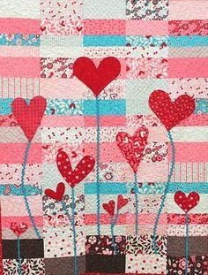 Edredón Inspiración: patrón libre del día de San Valentín: Corazones y 2014: