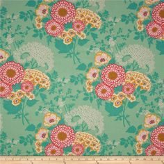 Joel Dewberry Botanique Bold Bouquet Teal from @fabricdotcom  Designed by Joel Dewberry for Free Spirit, this cotton print fabric is perfect for quilting, apparel and home decor accents. Colors include sunset, pink, butter, teal and ivory.