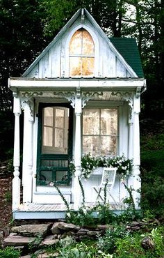 Woodsy hunter's cabin turned into mini Victorian Cottage for one. http://www.nytimes.com/2010/06/24/garden/24cottage.html