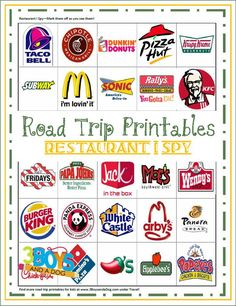Pin47K Tweet13 Share567 +110 Share Stumble1Have you been on a search for some fun road trip printables for kids? This one might be best suited for a very long car drive since it includes so many different restaurants. But, I am sure the kids will have f