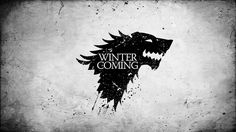 wolf monochrome Game of Thrones A Song Of Ice And Fire TV series Winter is Coming Banner direwolf arms House Stark  / 1600x900 Wallpaper