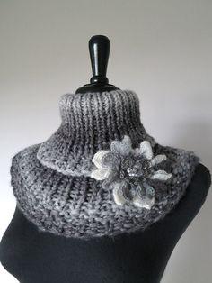 Wool Acrylic Yarn Silver Light Dark Gray Color by KnitsomeStudio