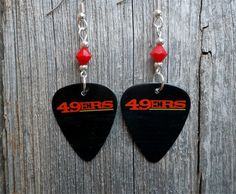 49ers Guitar Pick Earrings with Red Crystals by ItsYourPickToo on Etsy