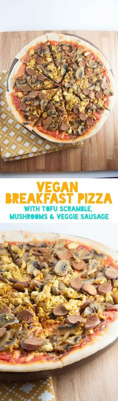 This Vegan Breakfast Pizza is topped with tofu scramble, mushrooms, and veggie s. - This Vegan Breakfast Pizza is topped with tofu scramble, mushrooms, and veggie sausage and is the p - Breakfast Pizza, Vegetarian Breakfast, Vegan Breakfast Recipes, Breakfast Time, Brunch Recipes, Breakfast Ideas, Vegetarian Dinners, Vegan Vegetarian, Vegetarian Recipes