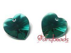 Austrian Swarovski Crystal Elements 6202/6228 Xilion Heart Pendant 10mm - Emerald