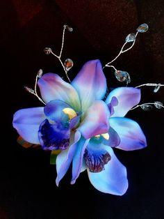 TROPICAL FLOWER CLIPMaui Blue Hawaiian Orchids Bridal by MalamaPua, $39.99