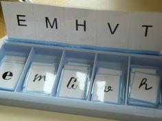 Jeux lecture/phono {boites à compter} avec les 3 écritures et différentes polices