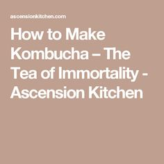 How to Make Kombucha – The Tea of Immortality - Ascension Kitchen
