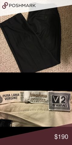 """Vintage Versace Black Dress Pants V2 Neiman Marcus These Vintage V2 Versace Black Dress Pants are in Mint Condition these were made in the 90's. One owner, kept very nicely, Pura Lana Vergine translated means Pure New Wool. These pants feel as soft as silk. They were part of the Neiman Marcus collection.   Measure 38"""" waist 30"""" inseam cuffed at the bottom. Very Handsome Pants. All buttons and clasps are sting. Versace Pants Dress"""