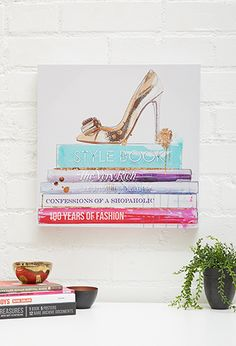 Confessions Shopaholic Canvas Art | FOREVER21 - 1000053192  http://www.forever21.com/Product/Product.aspx?BR=f21&Category=acc_home-and-gift-items&ProductID=1000053192&VariantID=