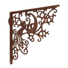 Peacock Cast Iron Shelf Bracket - Rust