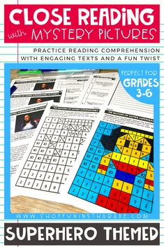 Print and go superhero themed reading comprehension passages.  Perfect reading activity to practice lots ELA standards.  This pack includes 3 high interest passages that are differentiated at 3 different levels and both fiction and nonfiction passages.  Great for 3rd grade, 4th grade, 5th grade and 6th grade. Includes 10 text dependent questions, writing prompts, graphic organizer and mystery pictures.   #closereading #upperelementary