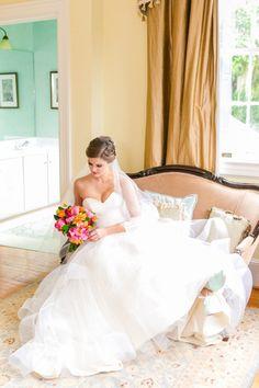 Indoor Bridal Portrait at Legare Waring House in Charleston | Charleston Bridal Portraits | Legare Waring House by Charleston wedding photographer Dana Cubbage Weddings