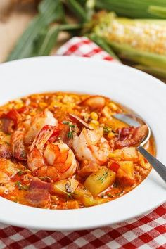 Creamy Succulent Shrimp, Bacon, & Roasted Corn Chowder _ I continued to build out the soup with more vegetables in the form of onions, celery & red bell pepper before seasoning it with garlic, thyme & smoked paprika.