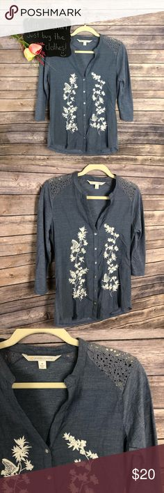"""Lauren Conrad blue white embroidered vneck top Lauren Conrad blue white embroidered vneck 3/4 sleeve button up top. Very cute!! Size M.  19"""" arm pit to arm pit.  26"""" length.  *98 LC Lauren Conrad Tops Button Down Shirts"""