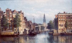 Eduard Alexander Hilverdink (Amsterdam 1846-1891) Gezicht op de Groenburgwal, Amsterdam, gezien vanaf de Amstel - Kunsthandel Simonis en Buunk, Ede (Nederland).
