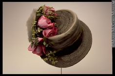 "Hat: ca. 1915. ""The size and shape of women's hats changed from season to season, but one factor remained constant - no properly dressed woman went outdoors without one...She would get the latest fashion information at a milliner's shop, the source of all the latest styles in a particular season. And when old hats had to be remodelled to serve another year, ribbons and trimmings were found at the milliner's shop."
