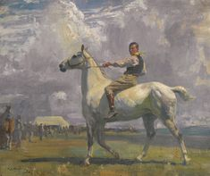 Ned Osborne on Grey Tick depicts the artist's groom, who also served as a model for Munnings' equestrian subjects of horses being exercised. It was painted in Munnings' first year at Lamorna in Cornwall where his studio and stables were combined in one space: 'My stables and studio at Lamorna were all in one; the studio, a large converted loft with a skylight, was above the stables. I found a new lad, a primitive Cornish youth. Ned was the name of this simple soul, who grew into a useful…