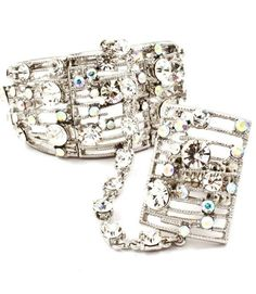 """New Slave AB Crystal Bracelet Woman's Ring Attached Fits 6.5-8"""" Silver Plate #Unbranded #Slavecuff"""