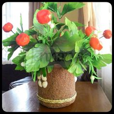 Handmade Flower Vase, created from coconut coirs...