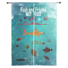 "Fish are friend not food poker 84"" Curtains"