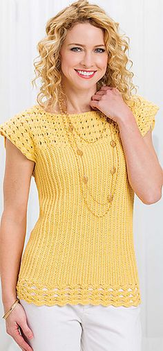 Sun-Kissed Top pattern by Jennifer Raymond, crocheted in Berroco Weekend DK…