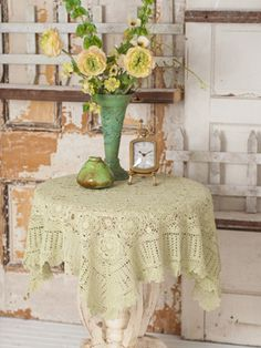 April Cornell crochet cotton tablecloth. Love this design
