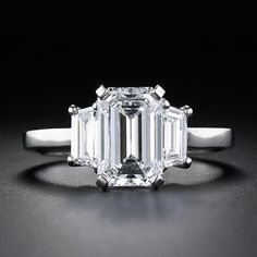 Exceptional 1.98 Carat Emerald Cut Diamond Engagement Ring