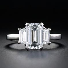 Exceptional 1.98 Carat Emerald Cut Diamond Engagement Ring