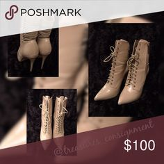 Stiletto Boots Strut your stuff in these tan pointy toe lace up stiletto boots. These boots were made for walking and elevating your fashion style with straps going across the upper back of the boot Shoes Lace Up Boots