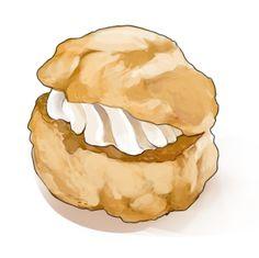 食:シュークリーム Dessert Illustration, Flat Illustration, Food Illustrations, Pastry Logo, Pastry Art, Cake Drawing, Food Drawing, Desserts Drawing, Sweet Cafe