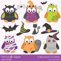 images:of halloween owls | Halloween owls clipart - CL369 Halloween owls clipart commercial use ...