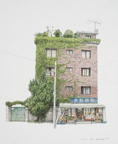 """archatlas: """"The Art of Me Kyeoung Lee South Korean artist Me Kyeoung Lee sees beauty even in mundane everyday objects. Her sketches of local convenience stores is a charming and skillful take on what other people might miss out. Lee has been. Japanese Watercolor, Watercolor Art, Watercolor Architecture, Architecture Design, Urban Sketchers, Korean Artist, South Korea, Concept Art, Scenery"""