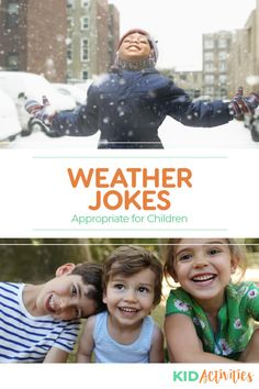 A collection of funny weather jokes for kids. Great jokes for teachers to tell their students in the classroom or for parents to tell their children. Weather Jokes, Funny Weather, Great Jokes, Funny Jokes For Kids, Games For Toddlers, Fun Activities For Kids, Kid Friendly Jokes, Funny Knock Knock Jokes, Cheesy Jokes