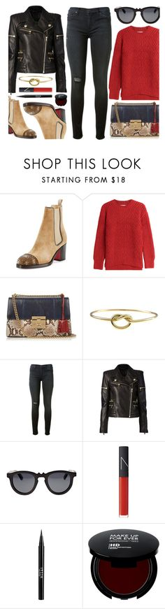 """Go To Look"" by monmondefou ❤ liked on Polyvore featuring Christian Louboutin, Closed, Gucci, Hudson, Balmain, Earth, NARS Cosmetics, Stila, black and red"