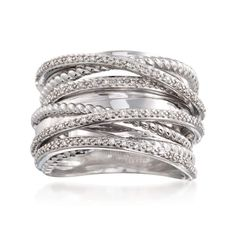A splendid array of sparkle and texture, this highway ring will make you take a second look. A polished sterling silver ring is wrapped in crisscrossed sections of rope texturing and .25 ct. t.w. diamond rounds. Sterling silver ring. Free shipping & easy 30-day returns. Fabulous jewelry. Great prices. Since 1952.