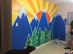 Used painters tape, sample size paint cans, and imagination! Playroom Mural, Kids Wall Murals, Nursery Wall Murals, Mural Wall Art, Kids Room Paint, Kids Room Wall Art, Painters Tape Design, Wall Art Crafts, Decoration