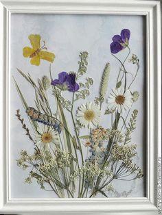 Флористическая картина `Воспоминания о лете`. Сухоцветы, природные материалы. Картина, панно.