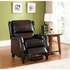 Liberty Wingback Brown/ Red Hand Rubbed Premium Top Grain Leather Recliner Chair, Size Standard